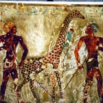 I don't want to know what these Egyptians were doing to this giraffe.