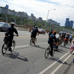 Crossing the Viaduct. In total there were about 350 riders.