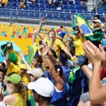Excited Brazilian fans at beach volleyball