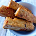 Tofu with a chili garlic sauce.
